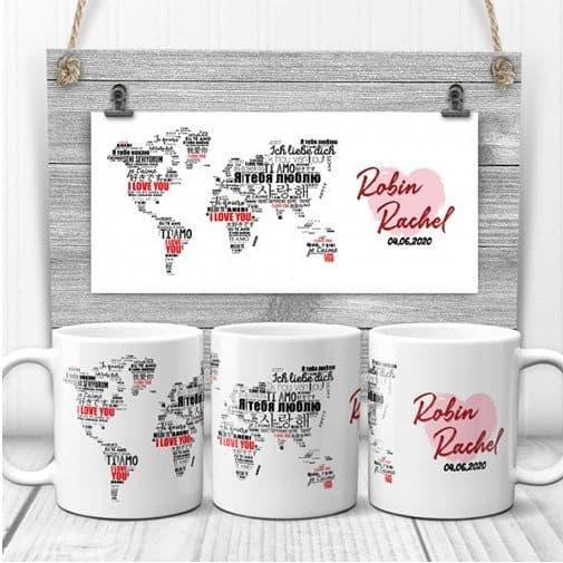 I Love You in Different Languages World map Coffee Mug