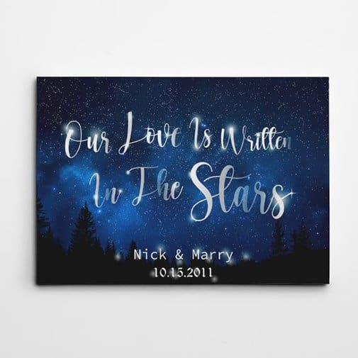 18th years wedding anniversary: Our Love Is Written In The Stars Canvas