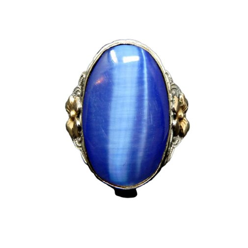 Sterling Silver Blue Cats Eye Ring
