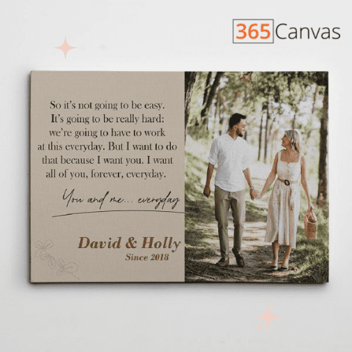 The Notebook Love Quote Personalized Photo Canvas Print
