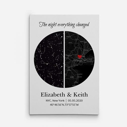 first christmas together gift ideas: The Night Everything Changed Custom Star Map