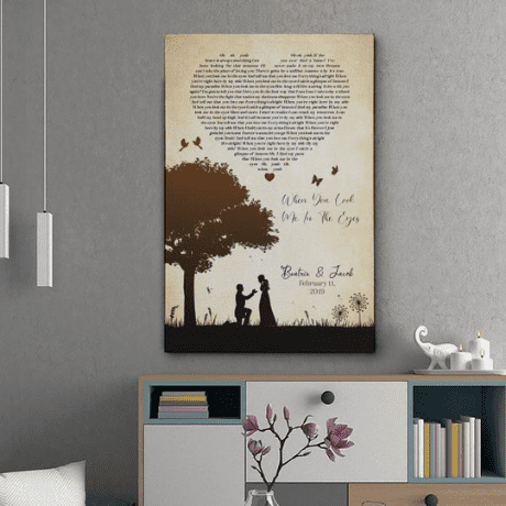 Couple Silhouette Song Lyric Canvas Print - gifts for wife