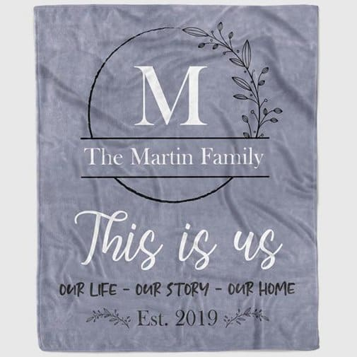 """christmas wedding gifts: """"This is Us"""" Personalized Family Throw Blanket"""