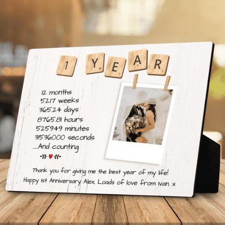 1 Year Anniversary Custom Desktop Photo Plaque