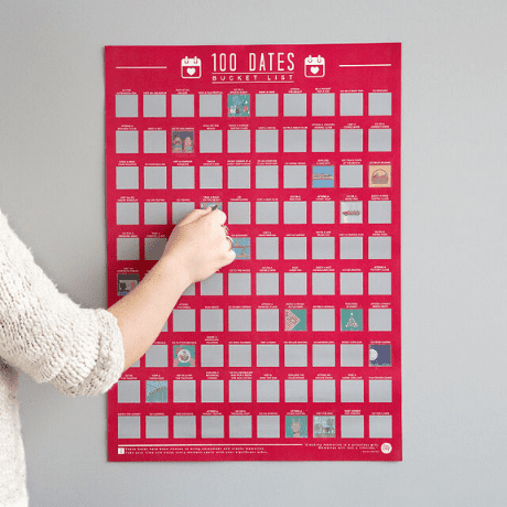 100 Dates Scratch Off Poster - gifts for couples