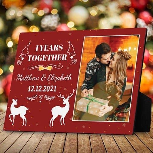 first christmas together: Custom Christmas Desktop Photo Plaque