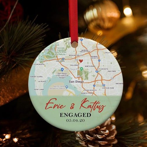 ustom Map Engagement Ornament