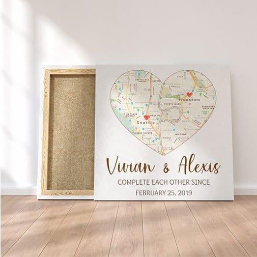 Custom Split Heart Map Canvas Print