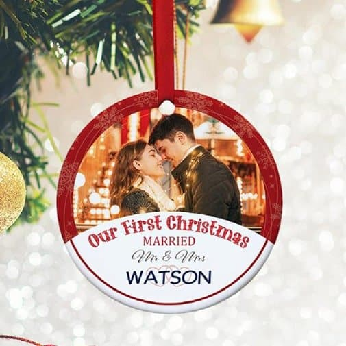 first married christmas: First Christmas Married Custom Photo Ornament