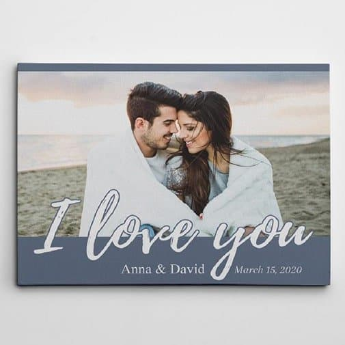 first christmas gift for wife:  Love You Custom Photo Canvas Print