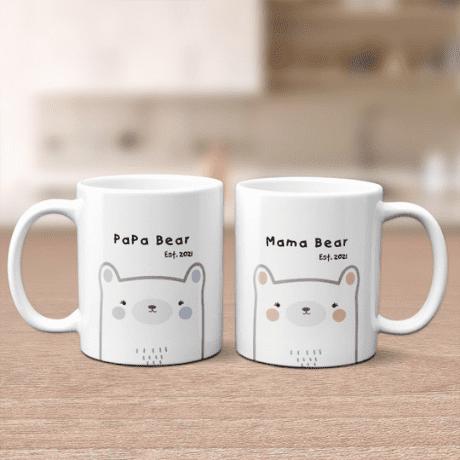 """""""Mama Bear, Papa Bear"""" Custom Couples Mugs - matching couple gifts"""