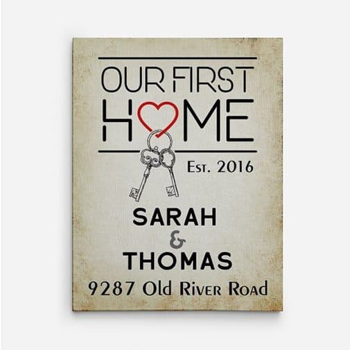 new house gift: Our First Home Custom Canvas Print