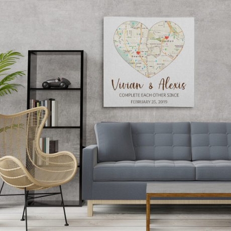 Complete Each Other Custom Split Heart Map Canvas Print