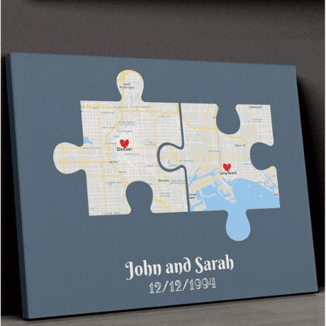 Couple Puzzle Map Canvas – Canvas Print