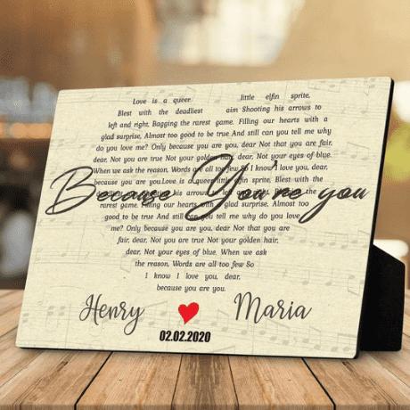 Heart Shaped Custom Song Lyrics Desktop Plaque