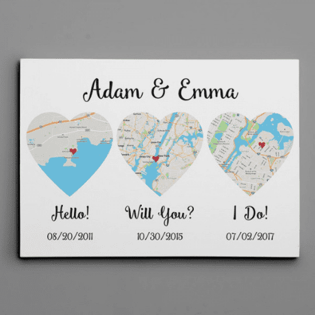 Hello – Will You – I Do – Standard Style – Map Canvas Print - gifts for couples