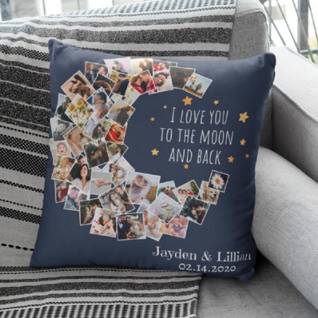 I Love You To The Moon And Back Photo Collage Pillow