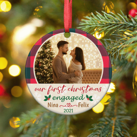 Our First Christmas Engaged – Photo Christmas Ornament