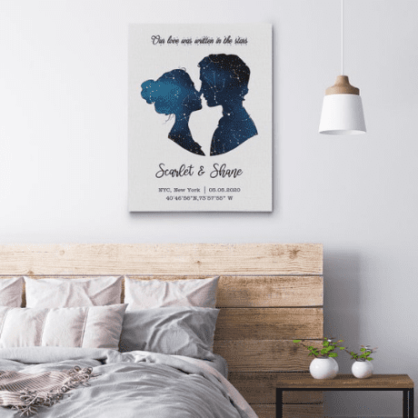 Our Love Was Written In The Stars Custom Star Map Canvas Print