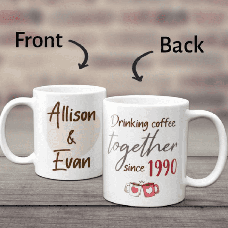 Drinking Coffee Together Since Custom Year And Name Mug - gifts for couples