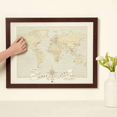 Pushpin World Map - gifts for couples