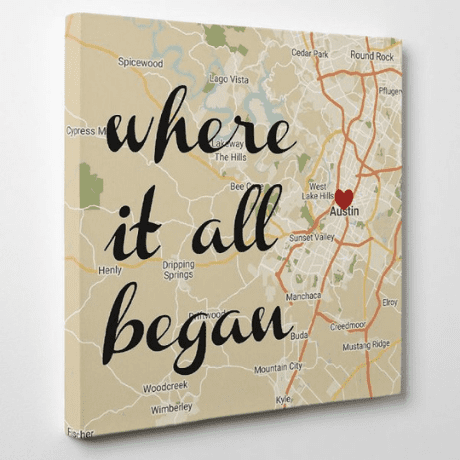 Where It All Began Map Wall Art Retro Style Custom Canvas Print - One year anniversary gifts for boyfriend