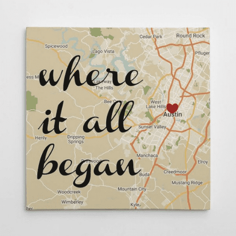 Where It All Began Map Wall Art Retro Style Custom Canvas Print - gifts for couples